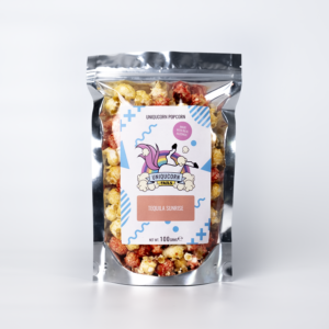 100g Pouch of Tequila Sunrise Yellow and red Popcorn