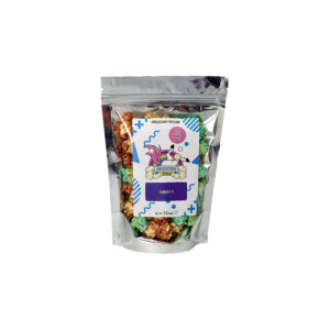 pounch of blue and burgundy popcorn with a uniqucorn-tail logo on labeled cheeky V in purple