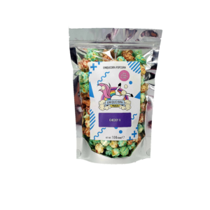 100g pouch of blue and burgundy cheeky vimto popcorn